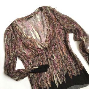 Elie Tahari Silk Blouse Black Pink Brown Print Top